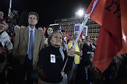 May 24, 2019 - Athens, Greece - Alexis Tsipras supporters are seen during the speak of Prime Minister and President of SYRIZA Alexis Tsipras in Athens, Greece, on May 24, 2019 for his main pre-election campaign speech. (Credit Image: © Aggelos Barai/NurPhoto via ZUMA Press)
