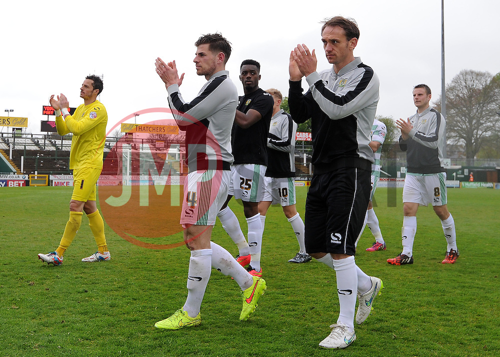 The Yeovil Town players applaude the fans - Photo mandatory by-line: Harry Trump/JMP - Mobile: 07966 386802 - 25/04/15 - SPORT - FOOTBALL - Sky Bet League One - Yeovil Town v Port Vale - Huish Park, Yeovil, England.