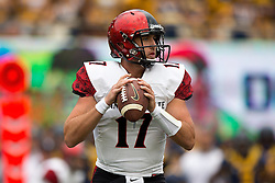 BERKELEY, CA - SEPTEMBER 12:  Quarterback Maxwell Smith #17 of the San Diego State Aztecs stands in the pocket against the California Golden Bears during the first quarter at California Memorial Stadium on September 12, 2015 in Berkeley, California. The California Golden Bears defeated the San Diego State Aztecs 35-7. (Photo by Jason O. Watson/Getty Images) *** Local Caption *** Maxwell Smith
