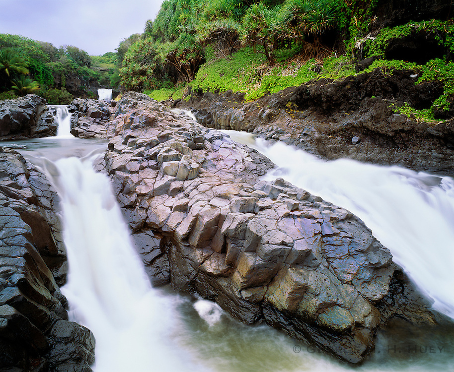 0803-1004B ~ Copyright: George H.H. Huey ~ The Lower Pools of Palikea Stream at Oheo Gulch at Kipahulu [also known as The Seven Sacred Pools]. Haleakala National Park, Maui, Hawaii.