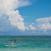 Paddle boarding at the Banyan Tree Mayakoba. Riviera Maya. Quintana Roo, Mexico.