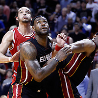 06 March 2010: Chicago Bulls center Joakim Noah (13) vies for a rebound with Miami Heat small forward LeBron James (6) and Miami Heat center Erick Dampier (25) during the Chicago Bulls 87-86 victory over the Miami Heat at the AmericanAirlines Arena, Miami, Florida, USA.