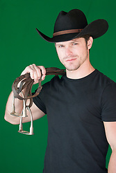 handsome cowboy with reins