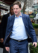 © Licensed to London News Pictures. 11/04/2013. London, UK. Deputy Prime Minister Nick Clegg arrives for his weekly radio show with his personal protection officer at LBC radio station in Leicester Square, London, today 11th April 2013. Photo credit : Stephen Simpson/LNP