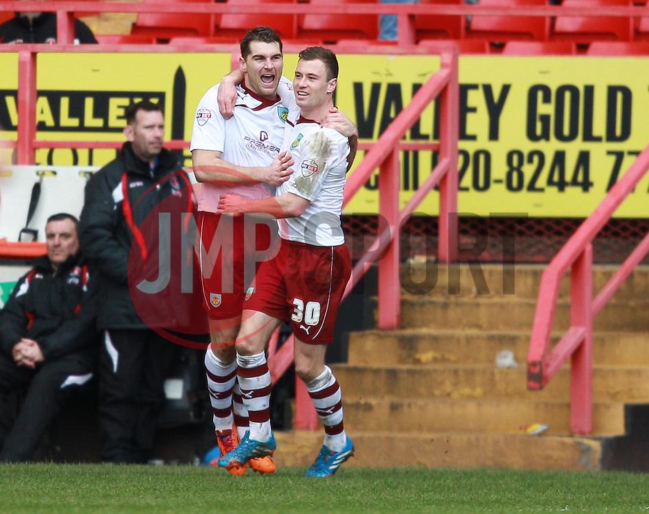 Burnley's Sam Vokes celebrates scoring his sides second goal with Ashley Barnes  - Photo mandatory by-line: Robin White/JMP - Tel: Mobile: 07966 386802 22/03/2014 - SPORT - FOOTBALL - The Valley - Charlton - Charlton Athletic v Burnley - Sky Bet Championship