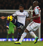 Picture by David Horn/Focus Images Ltd +44 7545 970036<br /> 23/11/2013<br /> Guy Demel of West Ham United (right) and Samuel Eto'o of Chelsea during the Barclays Premier League match at the Boleyn Ground, London.