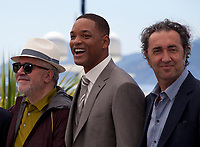 President of the Jury Pedro Almodóvar, actor Will Smith, Paolo Sorrentino  at the Members of the Jury photocall at the 70th Cannes Film Festival Wednesday May 17th 2017, Cannes, France. Photo credit: Doreen Kennedy
