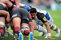 Bath flanker Alafoti Fa'asiliva in action at a scrum - Photo mandatory by-line: Patrick Khachfe/JMP - Tel: Mobile: 07966 386802 - 22/09/2013 - SPORT - RUGBY UNION - Allianz Park, London- Saracens v Bath Rugby - Aviva Premiership.