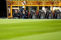 Manchester City manager Josep Guardiola takes a seat at Wolverhampton Wanderers - Mandatory by-line: Robbie Stephenson/JMP - 25/08/2018 - FOOTBALL - Molineux - Wolverhampton, England - Wolverhampton Wanderers v Manchester City - Premier League