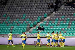 Players of NK Celje celebrate goal during football match between NK Olimpija Ljubljana and NK Celje in 1st leg match in Semifinal of Slovenian cup 2017/2018, on April 4, 2018 in SRC Stozice, Ljubljana, Slovenia. Photo by Urban Urbanc / Sportida