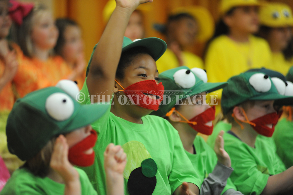 Lela Barnes was among students in the Bramlett Elementary play Wide Mouthed Frogs in Oxford, Miss. on Friday, March 20, 2015.