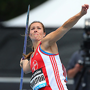 Katharina Molitor, Germany, in action during the Women's Javelin throw during the Diamond League Adidas Grand Prix at Icahn Stadium, Randall's Island, Manhattan, New York, USA. 14th June 2014. Photo Tim Clayton