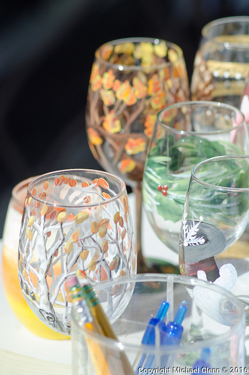 15 Oct. 2016 Forked River USA / For the adults, wine glasses decorated in paint sit drying in the sunlight during  a wine glass painting class as St Pius X celebrates it's 10th year in their new church with a festival open to all  /  Michael Glenn  / Glenn Images