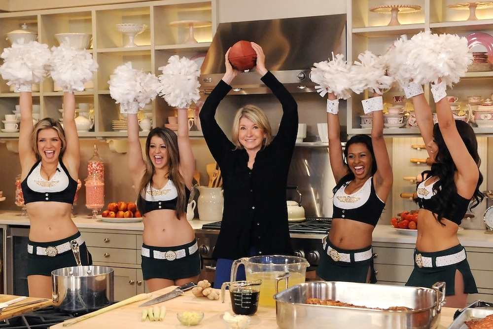 """The New York Jets cheerleaders and Martha Stewart are seen during the production of """"The Martha Stewart Show"""" in New York on Wednesday, February 2, 2011. Photo: David E. Steele/The Martha Stewart Show"""