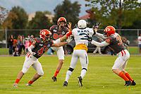 KELOWNA, CANADA - SEPTEMBER 8: the Langley Rams visit the Okanagan Sun on September 8, 2018, at the Apple Bowl, in Kelowna, British Columbia, Canada.  (Photo by Marissa Baecker/Shoot the Breeze)  *** Local Caption ***