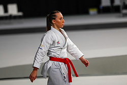 November 10, 2018 - Madrid, Madrid, Spain - Feracci A. (FRA) competes for third place of Female Kata during the Finals of Karate World Championship celebrates in Wizink Center, Madrid, Spain, on November 10th, 2018. (Credit Image: © AFP7 via ZUMA Wire)