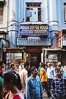 Crowds and book stalls and the entryway to the Indian Coffee House near College Street in Kolkata.