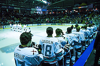 KELOWNA, CANADA - JANUARY 22: The Kelowna Rockets stand on the bench against the Tri City Americans on January 22, 2016 at Prospera Place in Kelowna, British Columbia, Canada.  (Photo by Marissa Baecker/Shoot the Breeze)  *** Local Caption ***