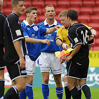 St Mirren v St Johnstone (pre season friendly) 21.7.01<br />Angry scenes as Paul McKnight and Ross Forsyth are separated after Stuart McCluskeys tackle on McKnight<br /><br />Pic by Graeme Hart<br />Copyright Perthshire Picture Agency<br />Tel: 01738 623350 / 07990 594431