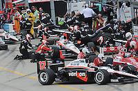 Helio Castroneves, Will Power, Ryan Briscoe, Iowa Corn Indy 250, Iowa Speedway, Newton, IA  USA,  6/20/2010