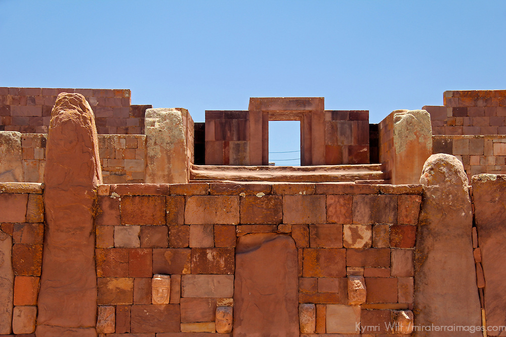 South America, Bolivia, Tiwanaku. East Entrance Kalasasaya Temple at Pre-Columbian archaeological site of Tiwanaku, a UNESCO World Heritage Site.