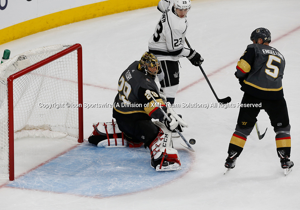 LAS VEGAS, NV - APRIL 11: Vegas Golden Knights goaltender Marc-Andre Fleury (29) blocks the puck during Game One of the Western Conference First Round of the 2018 NHL Stanley Cup Playoffs between the L.A. Kings and the Vegas Golden Knights Wednesday, April 11, 2018, at T-Mobile Arena in Las Vegas, Nevada. The Golden Knights won 1-0.  (Photo by: Marc Sanchez/Icon Sportswire)
