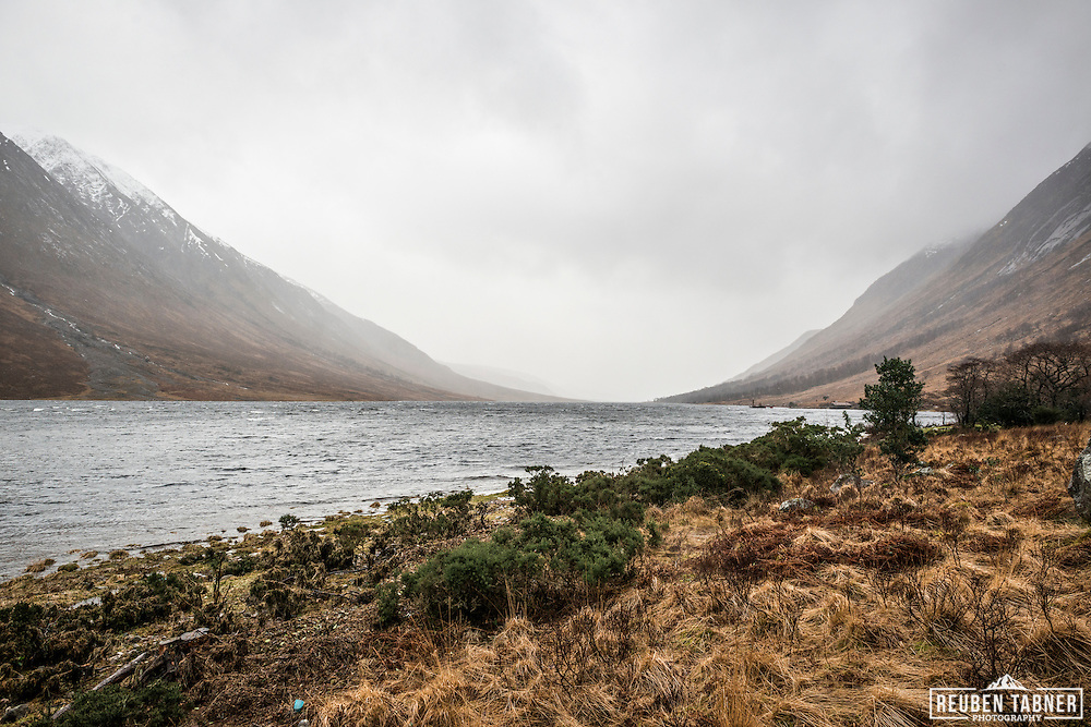 Looking down Glen Etive in the Highlands of Scotland on a cold winters day.