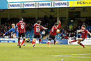 Gillingham FC midfielder Josh Wright (44) has a shot on goal during the EFL Sky Bet League 1 match between Gillingham and Shrewsbury Town at the MEMS Priestfield Stadium, Gillingham, England on 28 January 2017. Photo by Andy Walter.