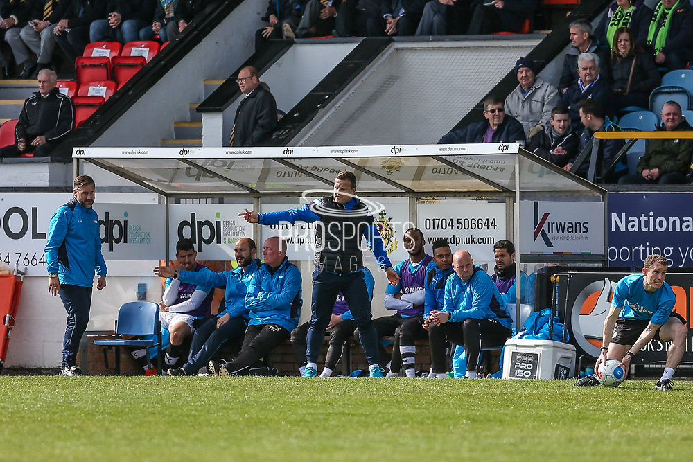 Forest Green Rovers manager, Mark Cooper in the technical area during the Vanarama National League match between Southport and Forest Green Rovers at the Merseyrail Community Stadium, Southport, United Kingdom on 17 April 2017. Photo by Shane Healey.