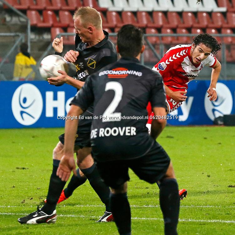 UTRECHT, 19-10-2013, eredivisie, FC Utrecht - NAC Breda, Galgenwaard Stadion,4-2, FC Utrecht speler Yassin Ayoub (r) scoort de 1-0, doelpunt.