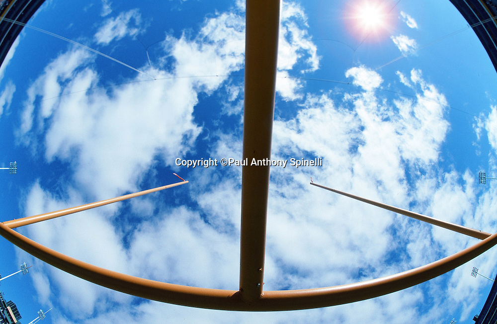 General view of the sky photographed from below the goal post at the New York Giants NFL football game against the Green Bay Packers on Sept. 17, 1995 in Green Bay, Wis. The Packers won the game 14-6. (©Paul Anthony Spinelli)