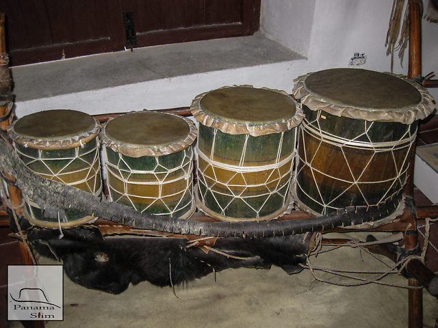The Iyessá drums are Lucumi in nature and are historically played for Ochun and Ogun. There are four in the set and they are double-headed, yet only one side is played.  Cow bells and rattles are included when played.