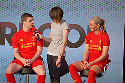 LIVERPOOL, ENGLAND - Monday, May 9, 2016: Liverpool's Jon Flanagan and Gemma Bonner at the launch of the New Balance 2016/17 Liverpool FC kit at a live event in front of supporters at the Royal Liver Building on Liverpool's historic World Heritage waterfront. (Pic by David Rawcliffe/Propaganda)