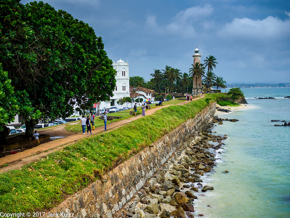 06 OCTOBER 2017 - GALLE, SOUTHERN PROVINCE, SRI LANKA: The sea wall along the southern end of Galle, Sri Lanka. This is the southernmost point on the island.  PHOTO BY JACK KURTZ