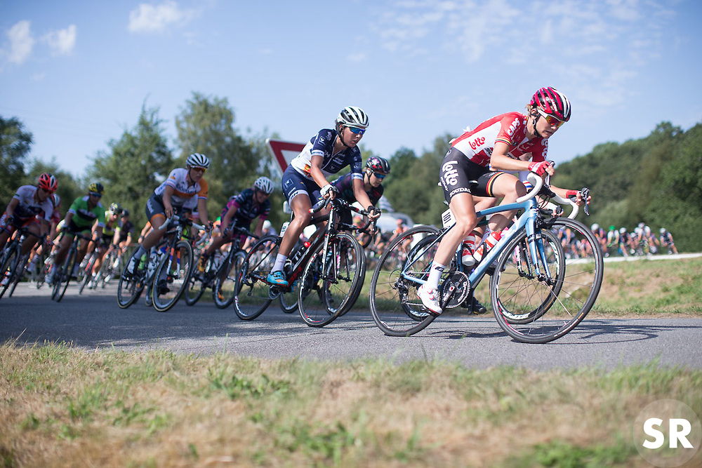 Claudia Lichtenberg (GER) of Lotto Soudal Cycling Team leads the peloton to the bottom of the last climb in the third lap of the 121.5 km road race of the UCI Women's World Tour's 2016 Grand Prix Plouay women's road cycling race on August 27, 2016 in Plouay, France. (Photo by Balint Hamvas/Velofocus)