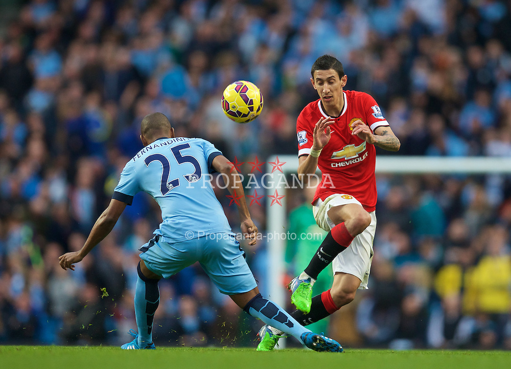 MANCHESTER, ENGLAND - Sunday, November 2, 2014: Manchester United's Angel Di Maria in action against Manchester City during the Premier League match at the City of Manchester Stadium. (Pic by David Rawcliffe/Propaganda)