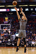 Feb 13, 2017; Phoenix, AZ, USA; Phoenix Suns guard Devin Booker (1) shoots the ball against the New Orleans Pelicans in the first half of the NBA game at Talking Stick Resort Arena. Mandatory Credit: Jennifer Stewart-USA TODAY Sports