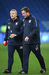 "Preston North End coach Steve Thompson (right) and Frankie McAvoy during the Sky Bet Championship match at The Den, London. PRESS ASSOCIATION Photo. Picture date: Friday December 29, 2017. See PA story SOCCER Cardiff. Photo credit should read: Nick Potts/PA Wire. RESTRICTIONS: EDITORIAL USE ONLY No use with unauthorised audio, video, data, fixture lists, club/league logos or ""live"" services. Online in-match use limited to 75 images, no video emulation. No use in betting, games or single club/league/player publications."