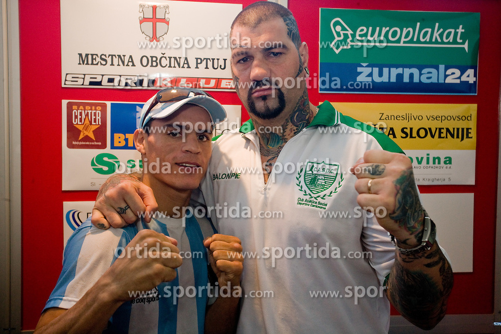 Rodolfo Ezequiel Martinez - Epi - Scania, ARG and Gonzalo Omar Basile, ARG at official weighing before box fighting, on April 8, 2010, in Avto Delta, Ljubljana, Slovenia.  (Photo by Vid Ponikvar / Sportida)