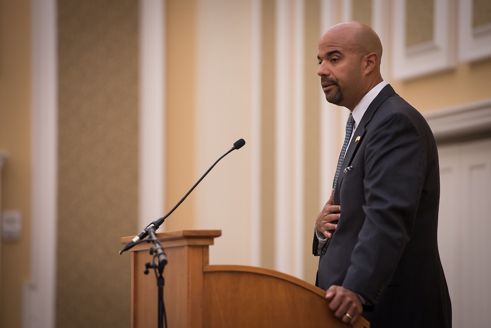 Dr. Jason Pina, Ohio University Vice President for Student Affairs, speaks during the 48th Annual Classified Staff Service Awards in Baker Center Ballroom on Friday, October 14, 2016.