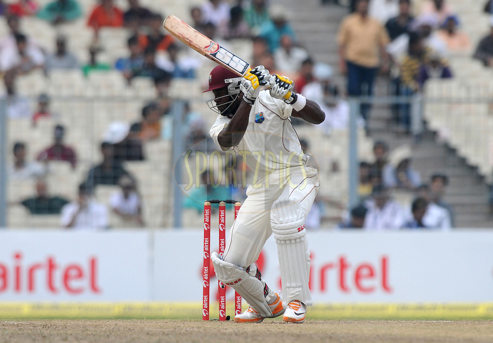 Kirk Edwards of West Indies bats during the 3rd day of the 2nd test match between India and The West Indies held at Eden Gardens in Kolkata, India on the 16th November 2011..Photo by Pal Pillai/BCCI/SPORTZPICS