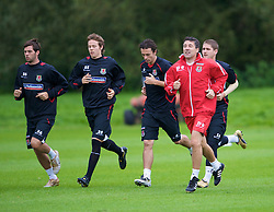 CARDIFF, WALES - Friday, September 5, 2008: Wales' assistant coach Dean Saunders leads the side during training at Vale of Glamorgan Hotel ahead of the second 2010 FIFA World Cup South Africa Qualifying Group 4 match against Russia. (Photo by David Rawcliffe/Propaganda)