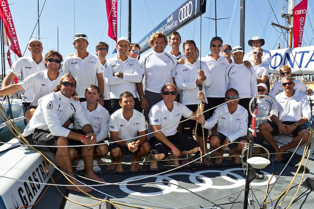 FRANCE, Marseille. 19th June 2011. AUDI MedCup Marseille Trophy. Andrea Lo Cicero (centre back), Italian Rugby star, with the crew of TP52, Audi Azzurra Sailing Team.