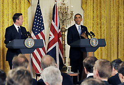 59640502  .U.S. President Barack Obama (R) speaks during a joint press conference with British Prime Minister David Cameron following their talks at the White House in Washington D.C. on May 13, 2013. Photo by: imago / i-Images. UK ONLY