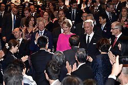 October 14, 2016 - Osaka, JAPAN - Federation Wallonia - Brussels Minister President Rudy Demotte, State Secretary for Foreign Trade Pieter De Crem, King Philippe - Filip of Belgium and Flemish Minister-President Geert Bourgeois pictured during a concert 'Japan and Belgium, one in music' in the Knowledge Theater Osaka, on day five of a state visit to Japan of the Belgian Royals, Friday 14 October 2016, in Osaka, Japan. BELGA PHOTO ERIC LALMAND (Credit Image: © Eric Lalmand/Belga via ZUMA Press)