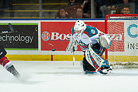 KELOWNA, CANADA - JANUARY 26: Roman Basran #30 of the Kelowna Rockets makes a first period save against the Vancouver Giants  on January 26, 2019 at Prospera Place in Kelowna, British Columbia, Canada.  (Photo by Marissa Baecker/Shoot the Breeze)