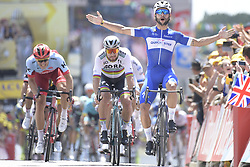 July 7, 2018 - Fontenay-Le-Comte, FRANCE - Colombian Fernando Gaviria of Quick-Step Floors (R) wins before 111 Slovak Peter Sagan of Bora-Hansgrohe (C) and German Marcel Kittel of Team Katusha-Alpecin (L) the sprint at the finish of the first stage of the 105th edition of the Tour de France cycling race, 201km from Noirmoutier-en-l'Ile to Fontenay-le-Comte, France, Saturday 07 July 2018. This year's Tour de France takes place from July 7th to July 29th...BELGA PHOTO DAVID STOCKMAN (Credit Image: © David Stockman/Belga via ZUMA Press)