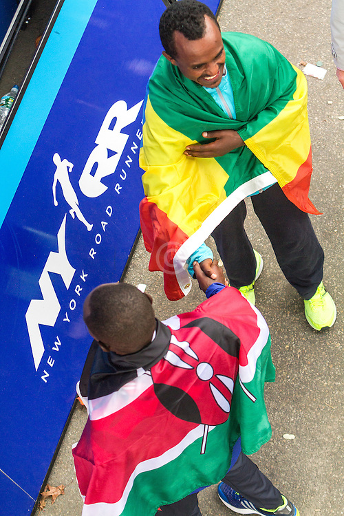 ING New York CIty Marathon: winner Mutai, Kenya, greets runner-up Kebede, Ethiopia