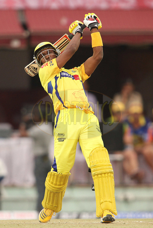 Dwayne Bravo of the Chennai Super Kings attacks a delivery during match 66 of the the Indian Premier League (IPL) 2012  between The Kings X1 Punjab and The Chennai Superkings held at the HPCA Stadium, Dharamsala, on the 17th May 2012..Photo by Shaun Roy/IPL/SPORTZPICS