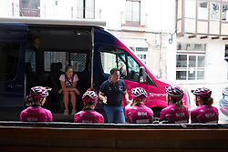 BePink Cycling Team team meeting before the start of the Durango-Durango Emakumeen Saria - a 113 km road race, starting and finishing in Durango on May 16, 2017, in the Basque Country, Spain.